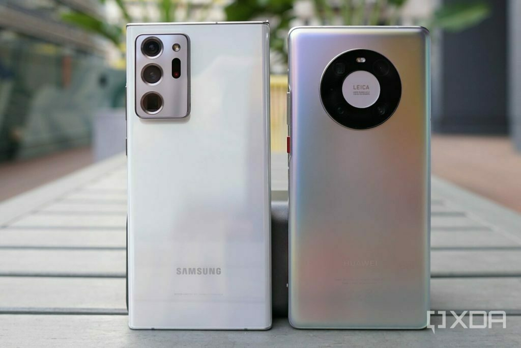 White Galaxy Note 20 Ultra and silver Huawei Mate 40 Pro