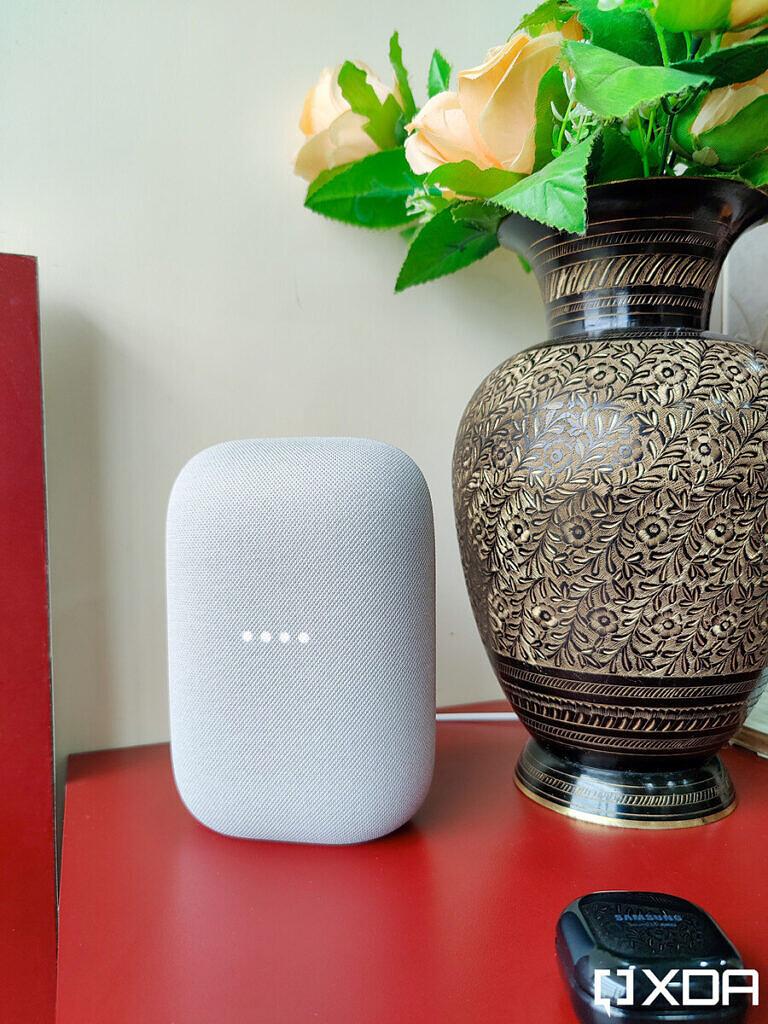 Google-Nest-Audio-XDA-Chalk-on-red-table