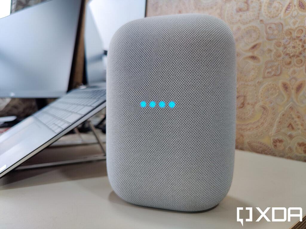 Google-Nest-Audio-XDA-Chalk-on-table-blue-led