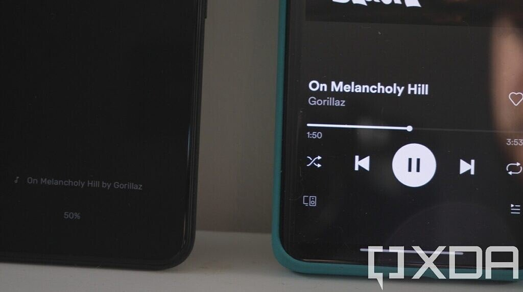 Google Pixel 5 identifying the song On Melancholy Hill, with the OnePlus 8 Pro playing the song beside it