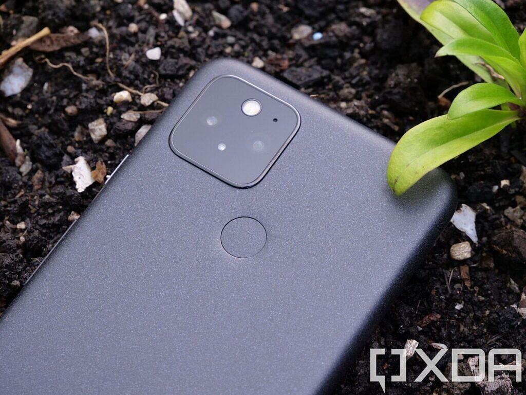 Google Pixel 5 lying in soil bed showing the fingerprint sensor and the camera module