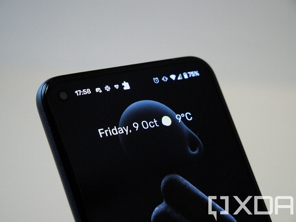 The front of the Google Pixel 5, showing the home-screen wallpaper