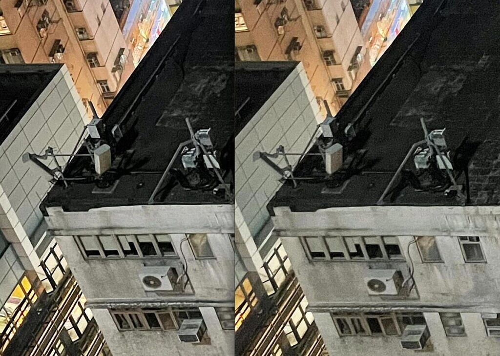 iPhone 12 Pro Max image zoomed in (left) and iPhone 12 Pro image zoomed in