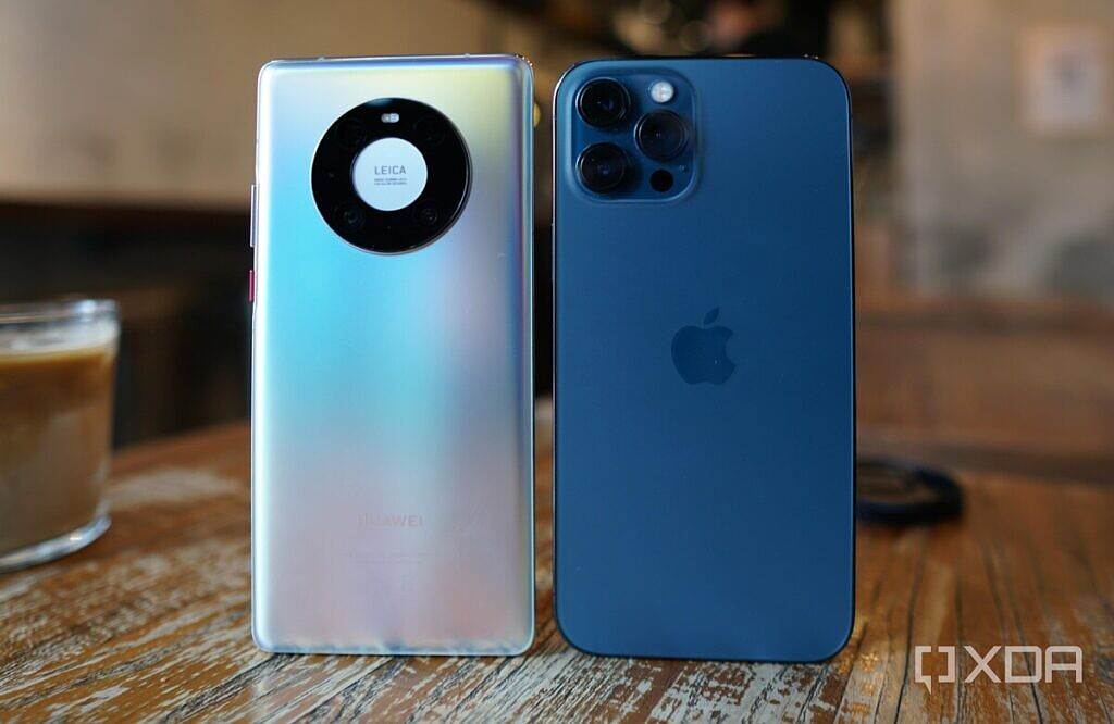 The Huawei Mate 40 Pro and the iPhone 12 Pro Max.